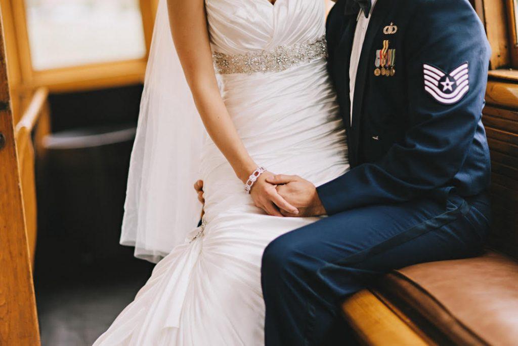 military couple on their wedding day