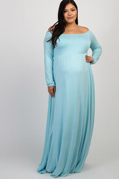 plus size light blue maternity dress