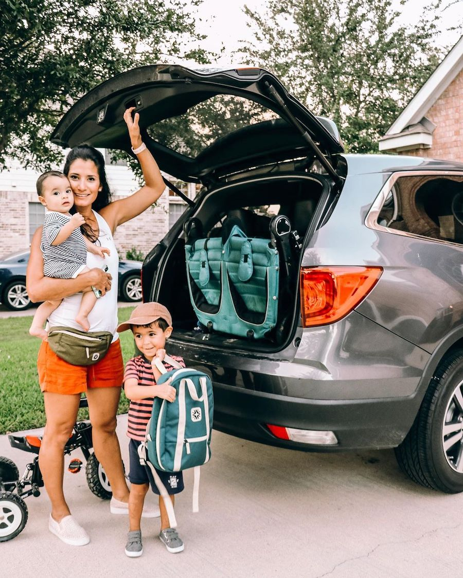 mom packing the car