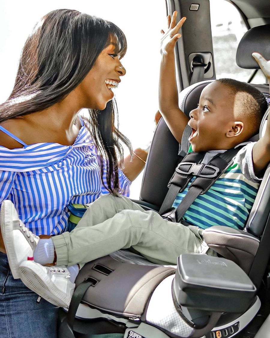 mother and child in car