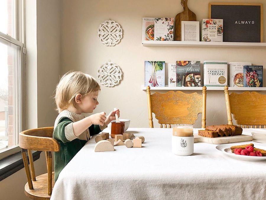 child eating breakfast