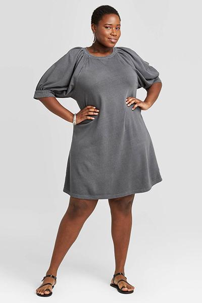 puff-sleeve mom uniform summer dress
