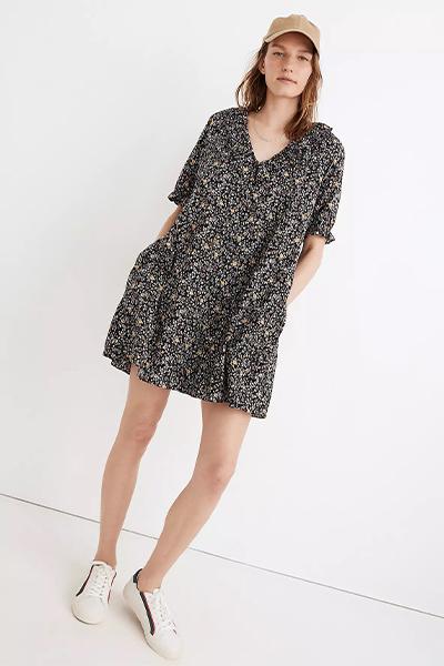 madewell ruffle mom uniform summer dress