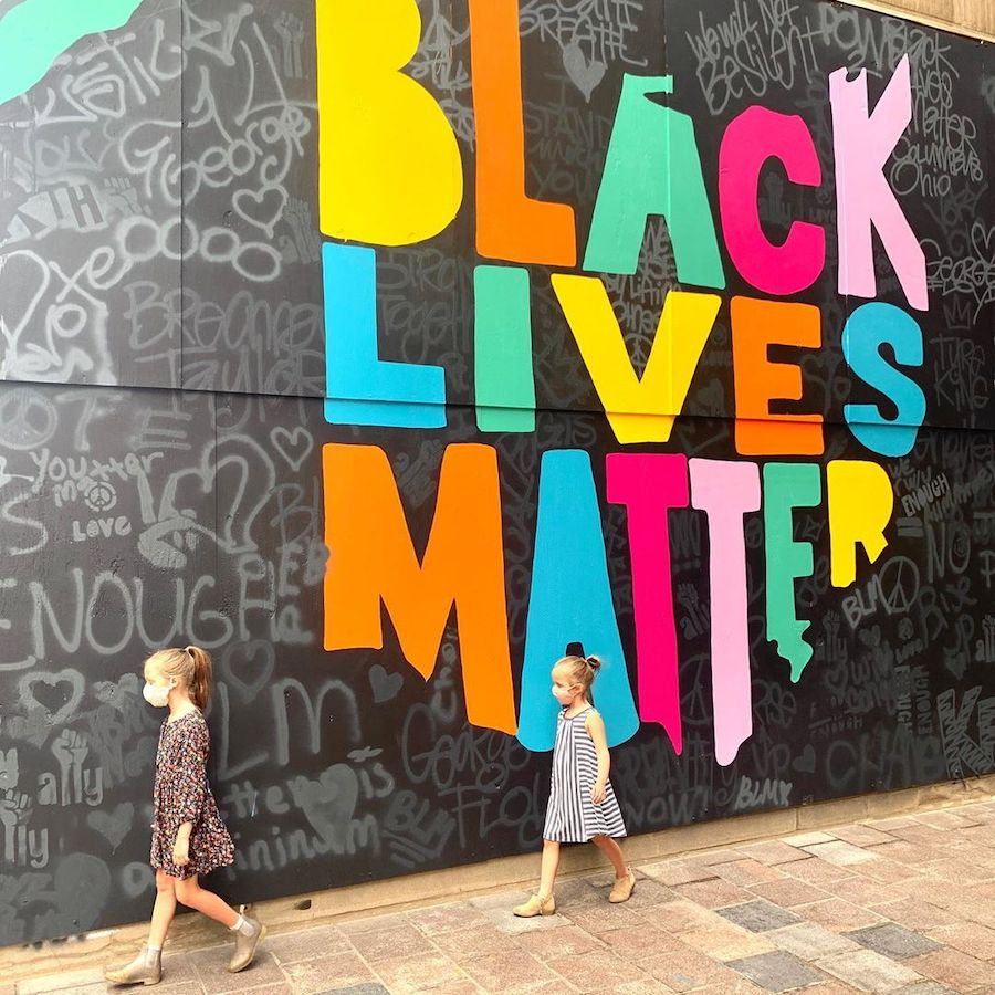 kids in front of black lives matter mural