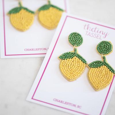 the tiny tassel lemon earrings
