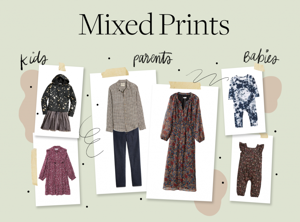 holiday card outfit ideas in mixed prints