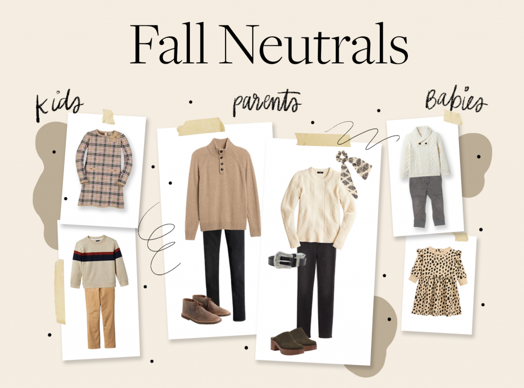 holiday card photo ideas in fall neutral colors