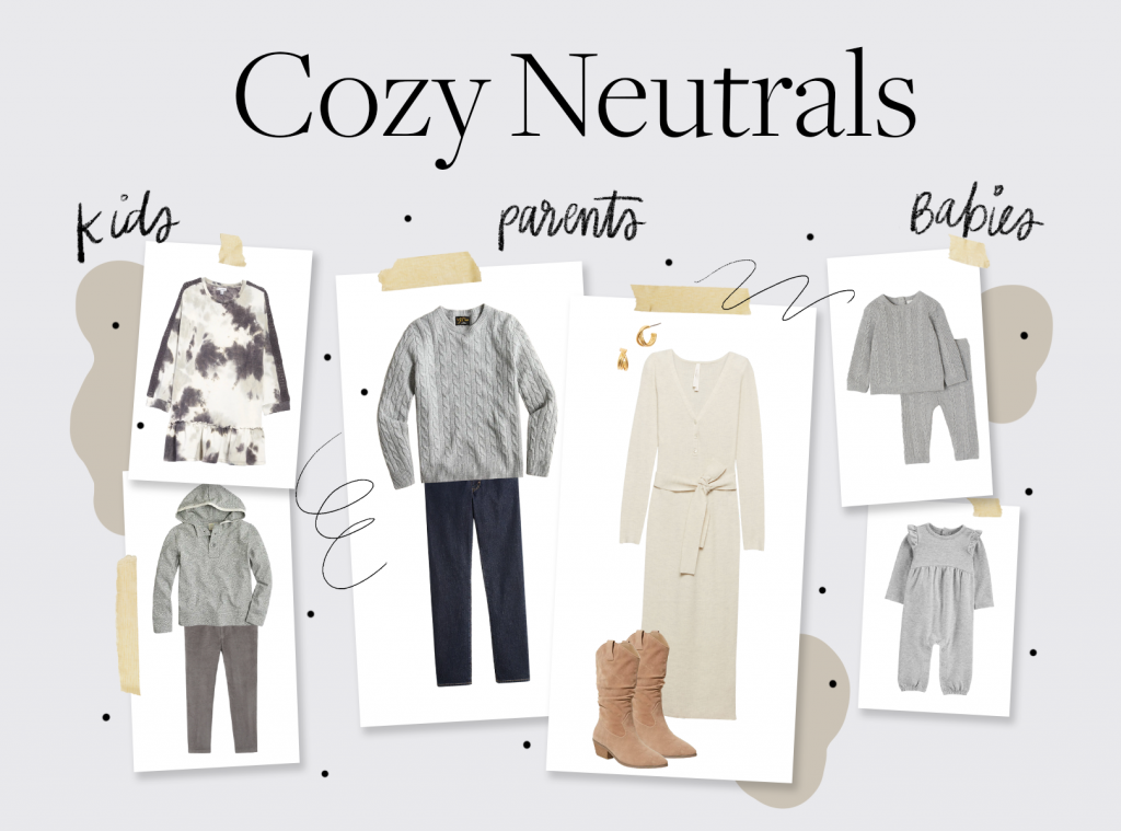 holiday card outfit ideas in cozy neutral colors