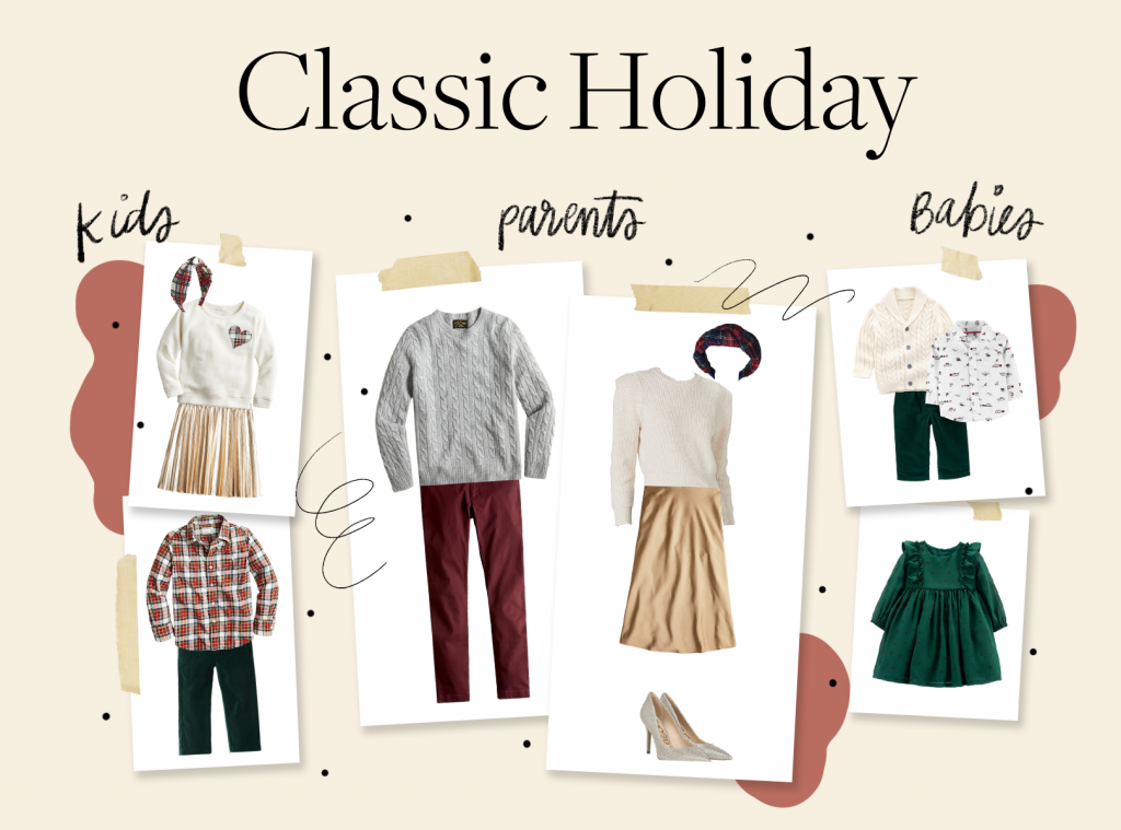 holiday card outfit ideas in classic holiday