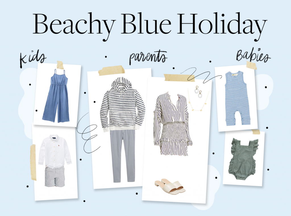 holiday card outfit ideas in blue and beachy colors