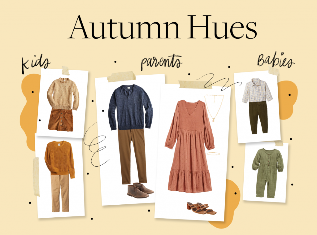 holiday card outfit ideas in autumn colors