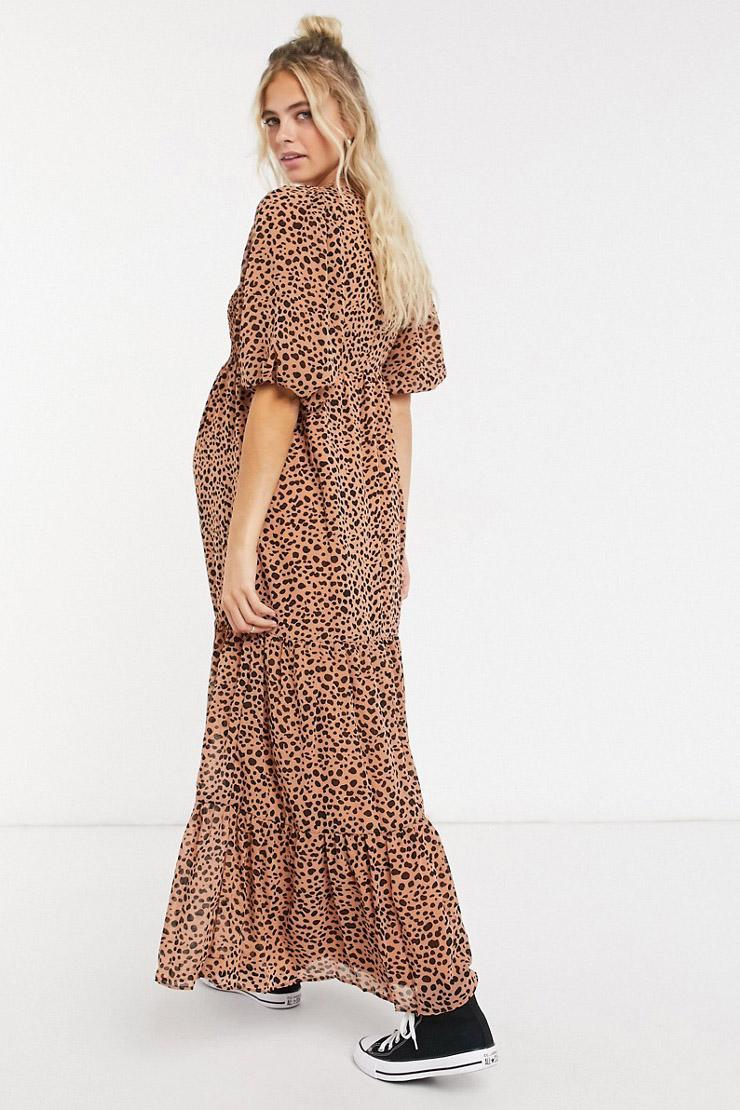Asos leopard print maternity dress