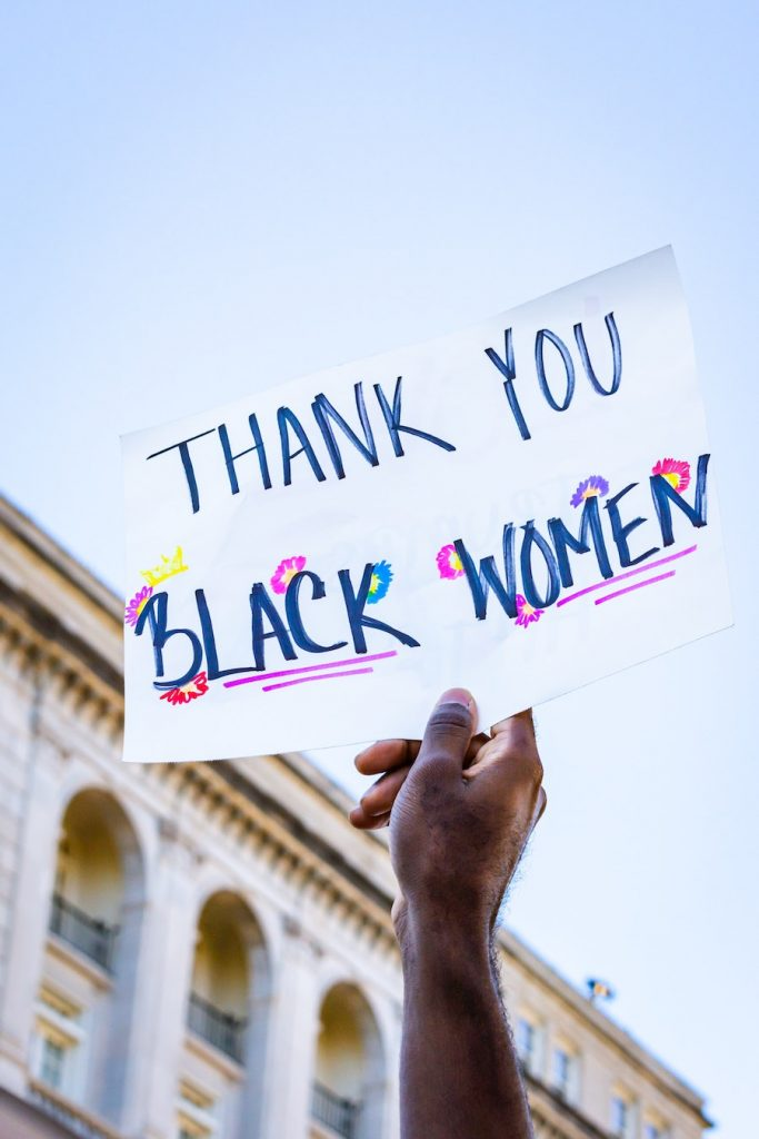 thank you Black Women protest sign