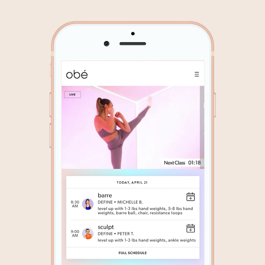 obe fitness app on iphone