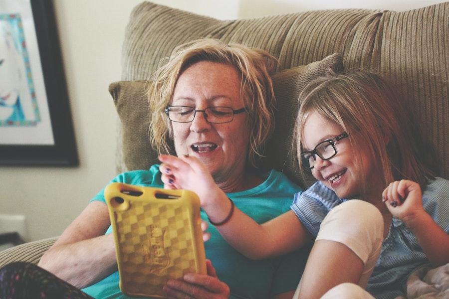 grandma playing with child