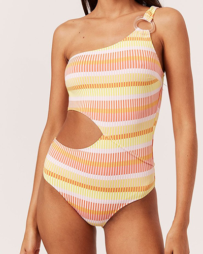 solid and striped cut out one shouldered swimsuit