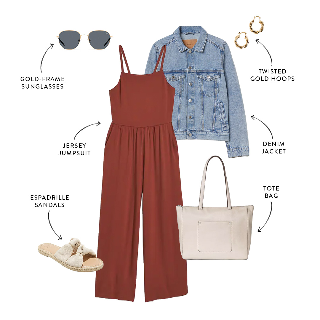 mom-friendly summer outfit with jumpsuit and jacket