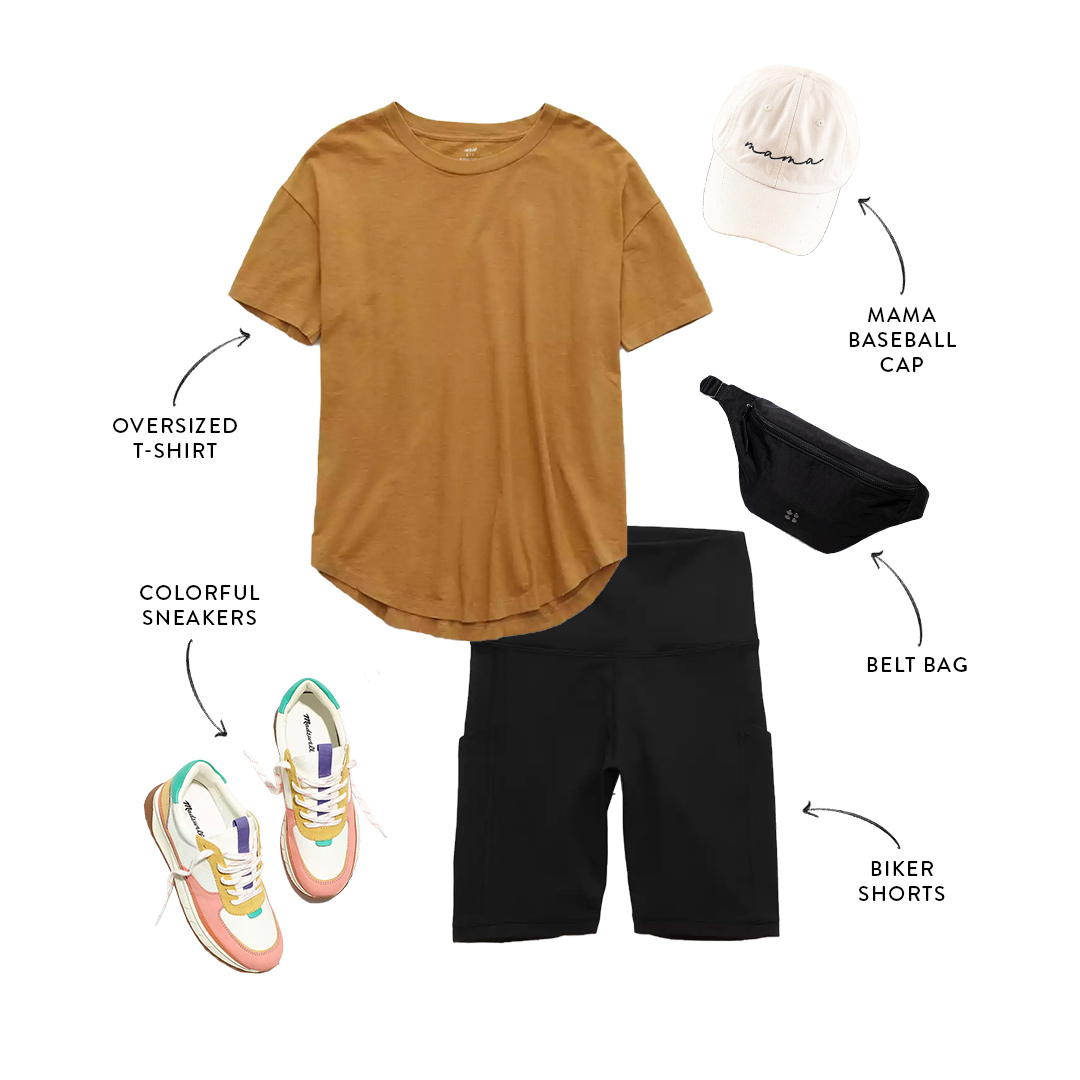 mom-friendly summer outfit with bike shorts and t-shirt