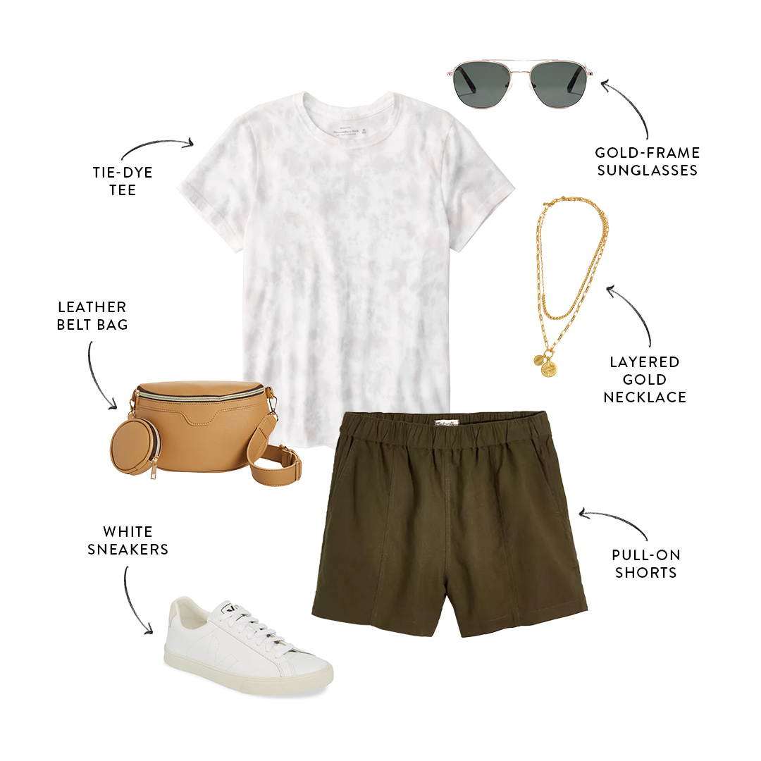 mom-friendly summer outfit with shorts and t-shirt
