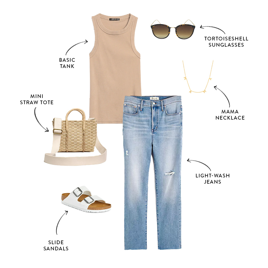 mom-friendly summer outfit with jeans and tank top