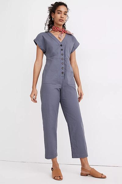 cap-sleeve jumpsuit for moms