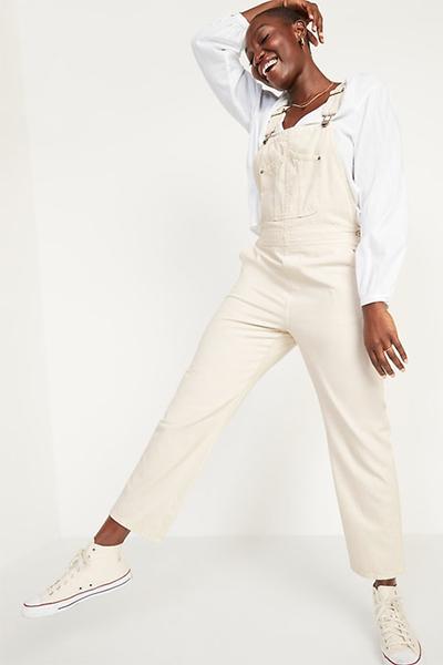 white denim overalls for moms