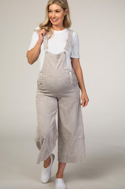 taupe maternity overalls for moms