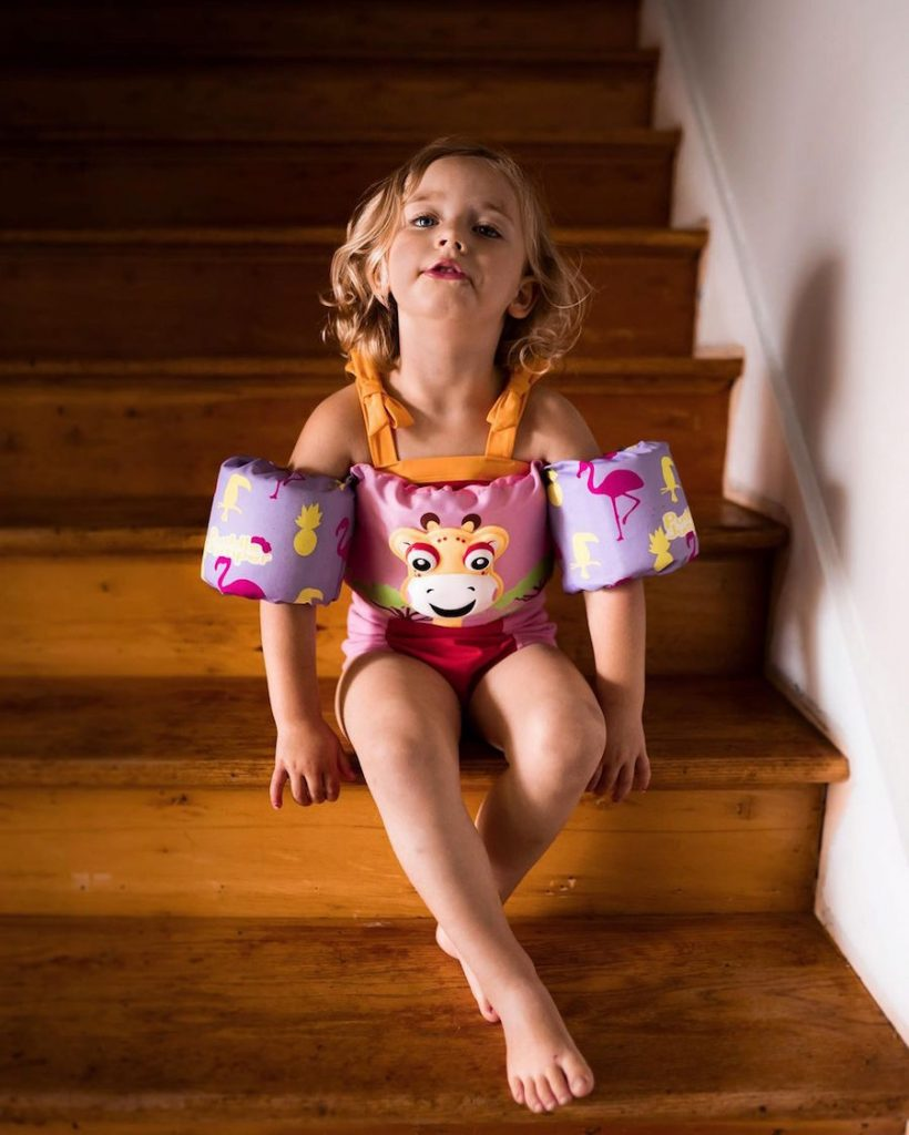 Toddler in swimsuit