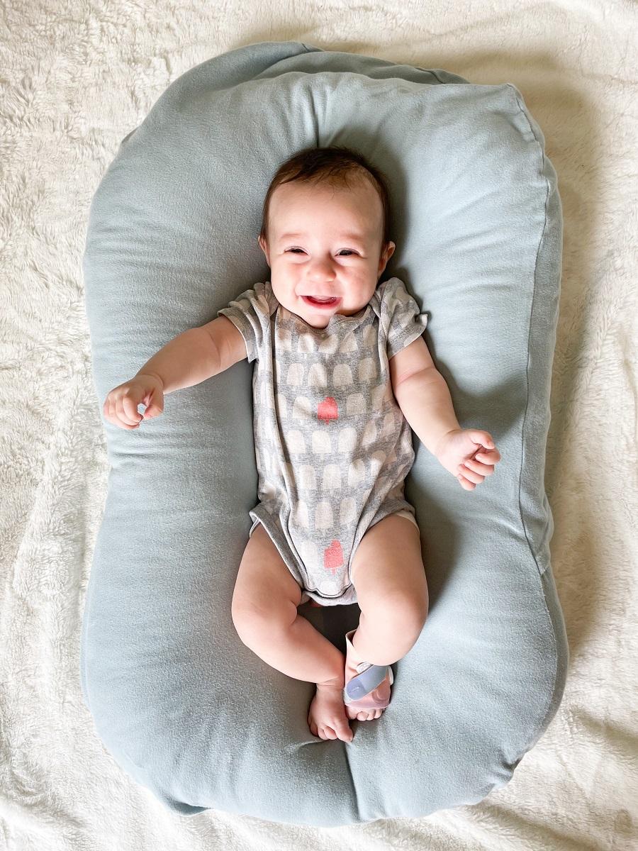 baby wearing the owlet sleep sock