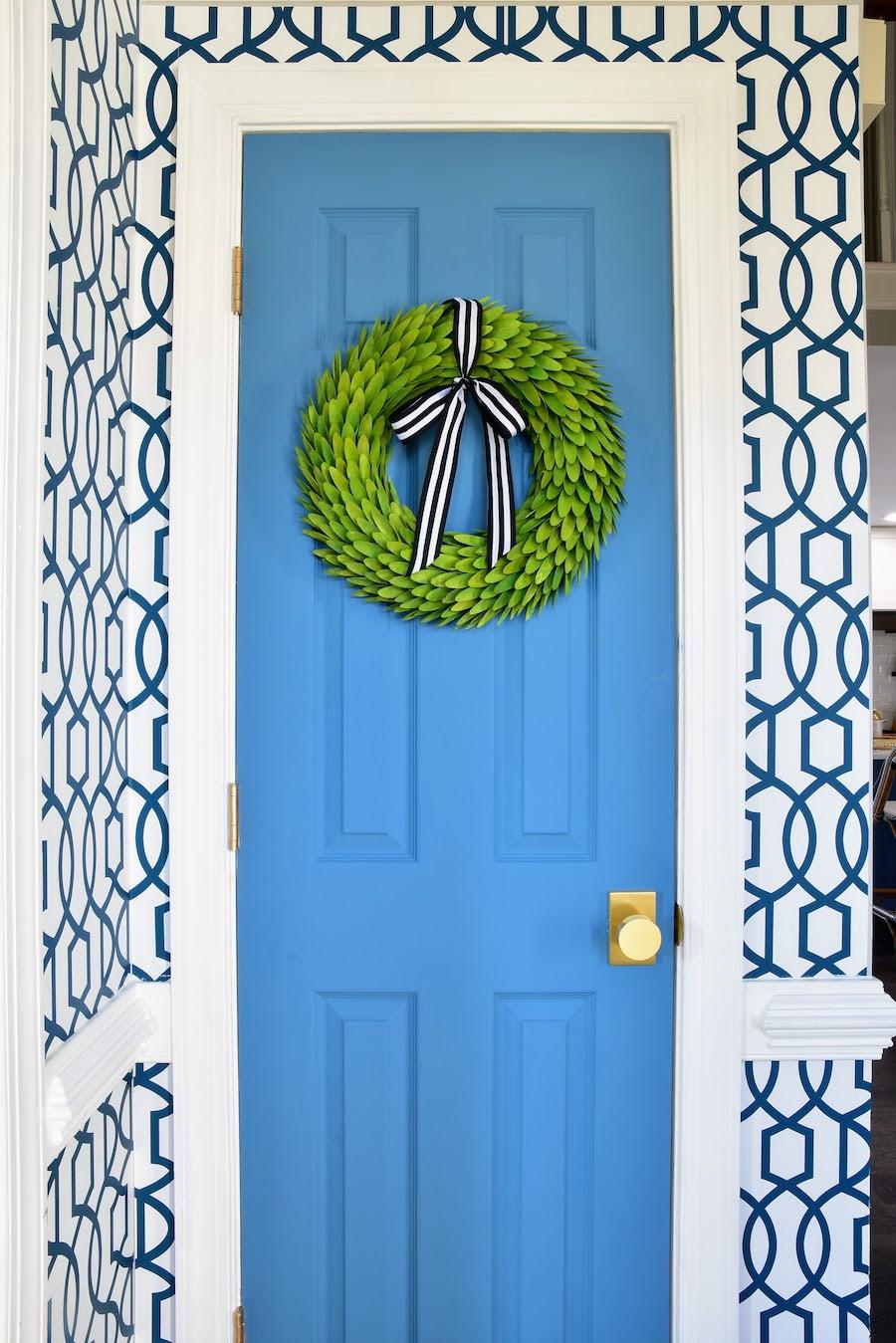 Blue Front Door with Greenery